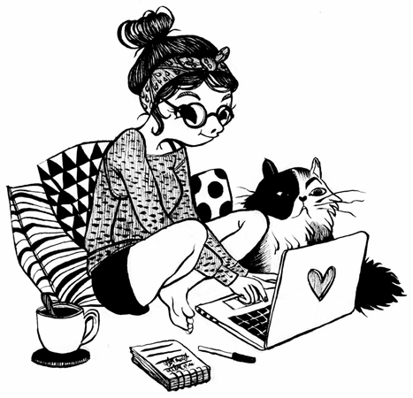 Anna Lubinski - Illustration - Inktober - A blogger girl with her cat, her pc and patterned cushions.