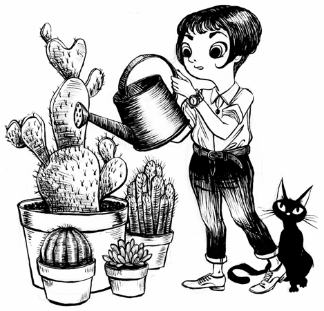 Anna Lubinski - Illustration - Inktober - A girl is watering her cacti with her black cat.
