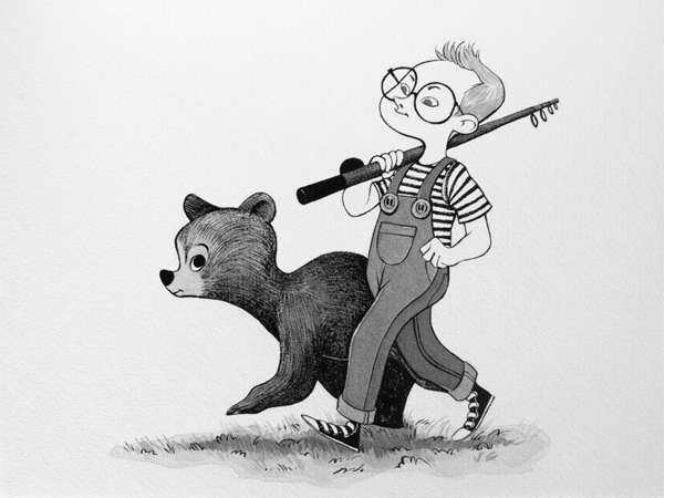 Anna Lubinski - Illustration - Inktober - Boy and bear
