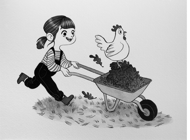 Anna Lubinski - Illustration - Inktober - Girl and chiken