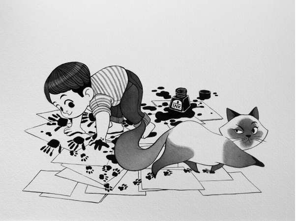 Anna Lubinski - Illustration - Inktober - Boy and cat