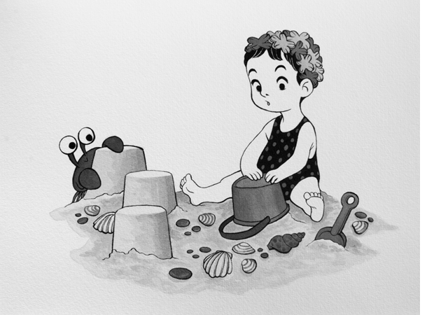 Anna Lubinski - Illustration - Inktober - Girl and crab