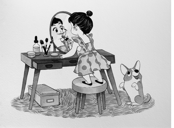 Anna Lubinski - Illustration - Inktober - Girl and corgi