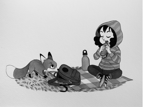 Anna Lubinski - Illustration - Inktober - Girl and fox