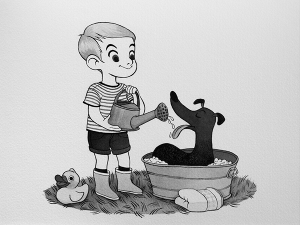 Anna Lubinski - Illustration - Inktober - Boy and greyhound