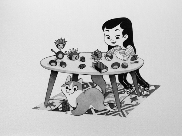 Anna Lubinski - Illustration - Inktober - Girl and cat