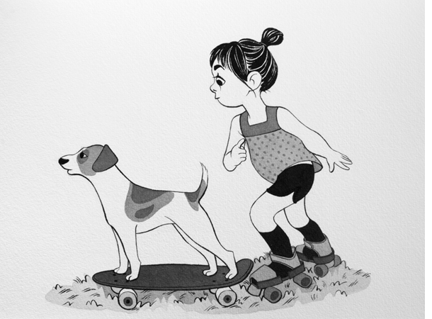 Anna Lubinski - Illustration - Inktober - Girl and Jack Russell dog