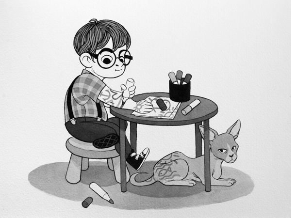 Anna Lubinski - Illustration - Inktober - Boy and sphynx cat