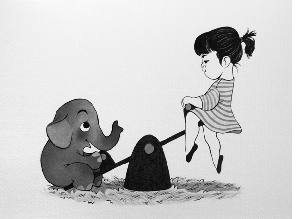 Anna Lubinski - Illustration - Inktober - Girl and elephant