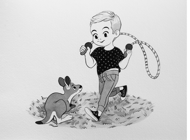 Anna Lubinski - Illustration - Inktober - Boy and kangaroo