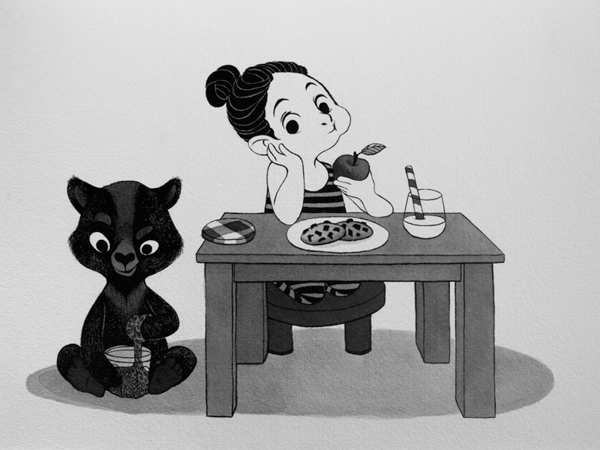 Anna Lubinski - Illustration - Inktober - Girl and bear