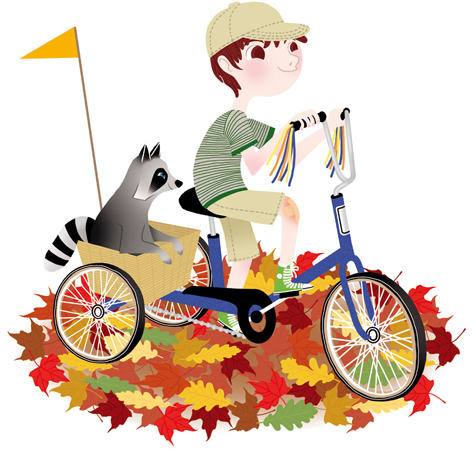 Anna Lubinski - Illustration - Cartoon portrait - Character design - raton laveur dessin tricycle vintage balade automne - raccoon vintage bicycle autumn leaves