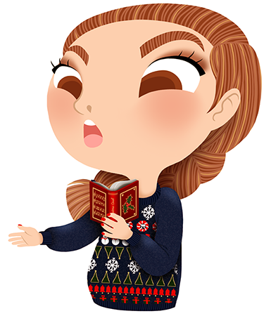 Anna Lubinski - Advent Calendar - Cartoon portrait - Character design - She wears a Christmas sweater. She is singing christmas carol.