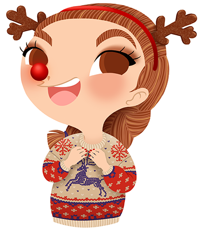 Anna Lubinski - Advent Calendar - Cartoon portrait - Character design - She wears a ugly Christmas jumper and reindeer disguise (reindeer horns and Rudolph's red nose).