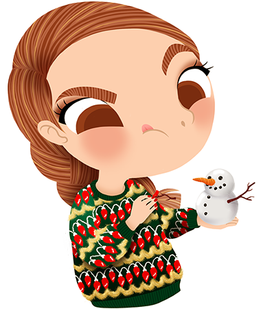 Anna Lubinski - Advent Calendar - Cartoon portrait - Character design - She wears a Christmas sweater. It's snowing! Do you want to build a snowman?