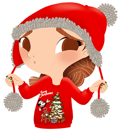 Anna Lubinski - Advent Calendar - Cartoon portrait - Character design - She wears a red christmas sweater with a vintage mickey on it. She is putting a peruvian beanie.