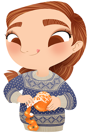 Anna Lubinski - Advent Calendar - Cartoon portrait - Character design - She wears a blue Christmas jumper with snowflakes. She is peeling a clementine.