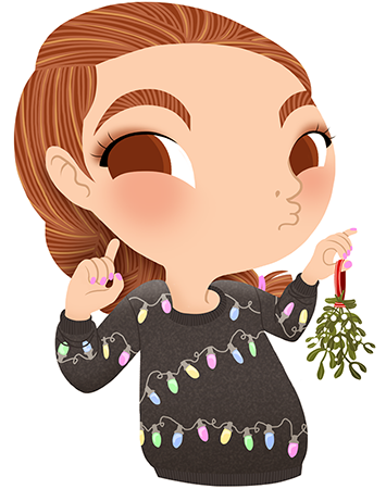 Anna Lubinski - Advent Calendar - Cartoon portrait - Character design - She wears a dark grey Christmas jumper with christmas lights on it. Kisses under the mistletoe.