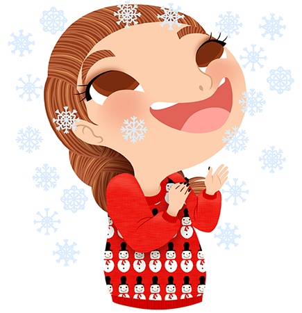 Anna Lubinski - Advent Calendar - Cartoon portrait - Character design - She wears a Christmas sweater with snowmen on it. It's snowing!