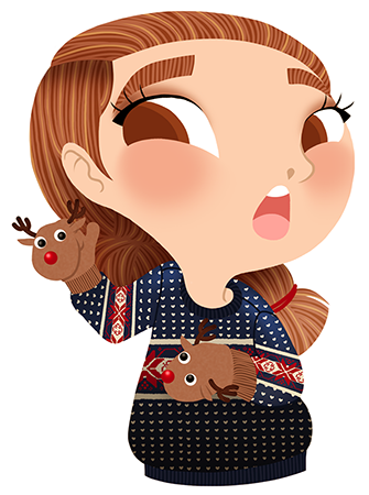 Anna Lubinski - Advent Calendar - Cartoon portrait - Character design - She wears a christmas sweater. She wears mittens in shape of Rudolph Reindeer.
