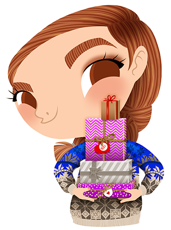 Anna Lubinski - Advent Calendar - Cartoon portrait - Character design - She wears a christmas jumper. She is putting gifts underneath the Christmas tree.