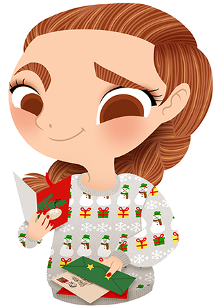 Anna Lubinski - Advent Calendar - Cartoon portrait - Character design - She wears a grey Christmas jumper with snowmen, snowflakes and christmas gifts. She is reading christmas cards.