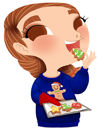 Anna Lubinski - Advent Calendar - Cartoon portrait - Character design - She wears a blue christmas jumper with a gingerbread man on it. She is doing some christmas cookies in shape of star, christmas tree and christmas decoration.