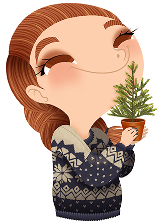 Anna Lubinski - Advent Calendar - Cartoon portrait - Character design - She wears a blue christmas sweater. She is smelling a tiny Christmas tree.