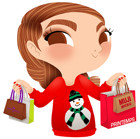 Anna Lubinski - Advent Calendar - Cartoon portrait - Character design - She wears a red christmas sweater with a snowman on it. She is doing some Christmas shopping in Paris.