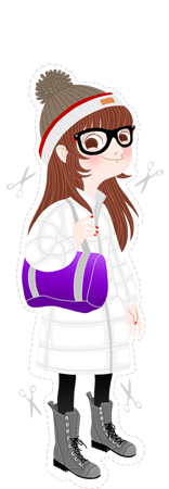 Anna Lubinski - Illustration - Monika - Cartoon portrait - Character design - High school style. She wears : Obey pompom beanie, white winter coat, Bensimon purple bag and grey high boots.