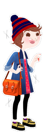 Anna Lubinski - Illustration - Monika - Cartoon portrait - Character design - Back to school. She wears : blue and red striped beanie, brown leather satchel, denim jacket and creepers.