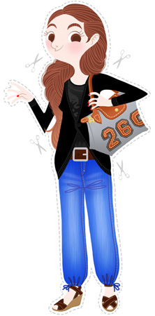 Anna Lubinski - Illustration - Cartoon portrait - Character design - Simple everyday outfit. She wears plateform shoes, black tops, brown leather belt, blue jeans and Longchamp 'Pliage' bag. She has braided shoes.