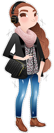Anna Lubinski - Illustration - Self-portrait - Cartoon portrait - Character design - She wears a pink zebra patterned scarf, a leopard patterned sweater, skinny jeans, brown color leather jodhpur boots by &Other Stories, black braided bag by &Other Stories and a black/gold limited edition Marshall headphones.