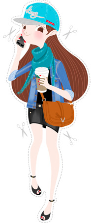 Anna Lubinski - Illustration - Cartoon portrait - Character design - Working girl with urban style. She wears a King's blue snapback, a matching bright blue scarf, a denim jacket, a black denim mini skirt, open toed black sandals and a camel brown hand bag. She is drinking a starbuck coffee and calling somebody with her iPhone.