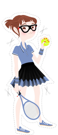 Anna Lubinski - Illustration - Cartoon portrait - Character design - Tenniswoman - Tennis outfit. She wears a blue polo shirt, a black and blue skirt, blue shoes, blue protects wrists. She hold a bright yellow tennis ball in one hand and blue tennis racquet in the other.