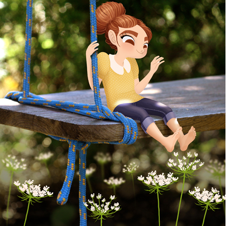Anna Lubinski - Illustration - Cartoon portrait - Character design - A little girl character is sitting on a very big wooden swing. She is bare feet and there are wild flowers under her feet. The light is sparkling. She wears blue denim jeans, yellow shirt and she has her hair in a bun.