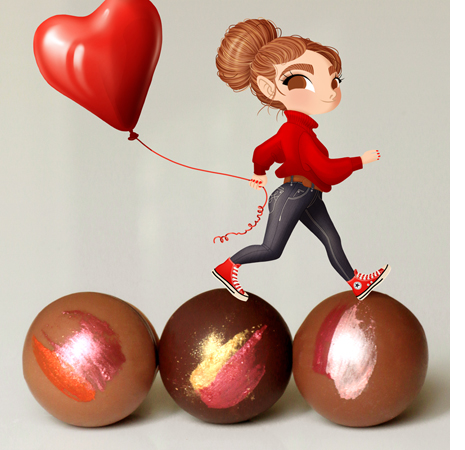 Anna Lubinski - Illustration - Cartoon portrait - Character design - A little girl character wears a red turtle neck, denim jeans and red Converse shoes. She is walking on chocolates and she holds a heart shape balloon in her hand.