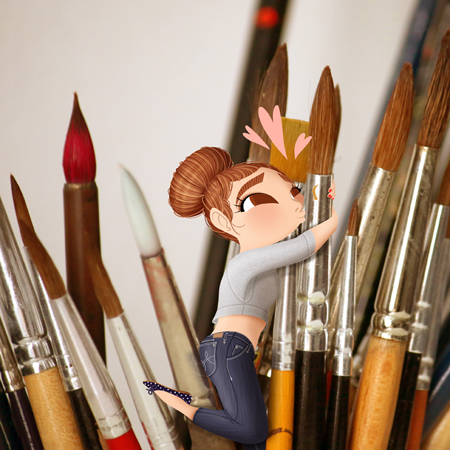 Anna Lubinski - Illustration - Cartoon portrait - Character design - A little girl character hugs big paint brushes and kissing them. She has a bun hairstyle, she wears a sweater crop top, blue jeans and ballerinas.