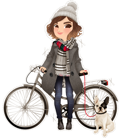 Anna Lubinski - Illustration - Cartoon portrait - Character design - Victoria from the blog Mango and Salt with her French Bulldog and her grey Bike. She wears a grey pompom beanie, a tartan scarf, a whool grey coat, blue jeans and black chelsea boots.